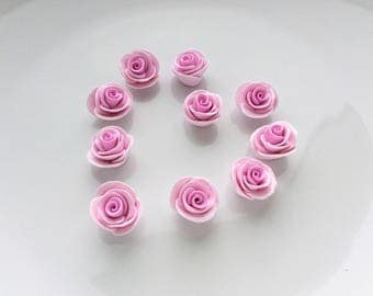 Pink rose beads, polymer clay roses, clay beads, jewellery making supplies, pink roses