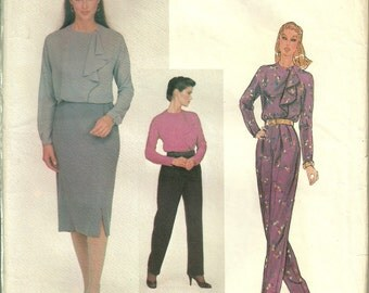 Anne Klein Vogue American Designer Pattern 2370, Pants Blouse Skirt Size 16 Bust 38