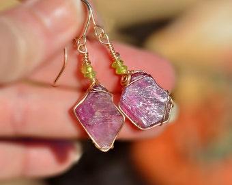 Raw Amethyst Stone Earrings+ Peridot. Stone Jewelry. Gold Filled Earrings. Gold Filled Jewelry. Purple Earrings Free Shipping Made in Israel