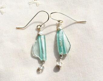Silver Roman Glass Earrings with Pearls & Crystal Beads Roman Glass Jewelry Handmade Delicate Dainty Earrings Israeli Jewelry Free Shipping