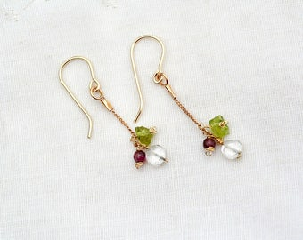 Delicate Gold Filled Chain Earrings Green Pink Gemstone Earring Dainty Contemporary Peridot Tourmaline Earrings Free Shipping Made in Israel