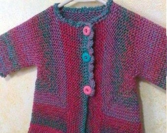 Hand Knit Baby Girl Jacket Coat Cardigan with Vintage Buttons Free Shipping