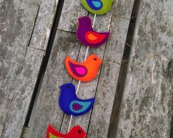 Colorful felt birds wall hanger / door hanger (8 stuffed birds)