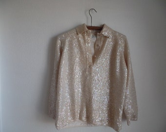 Vintage Cyn Les Pullover Sweater Blouse Hand Beaded Sequins 100% wool