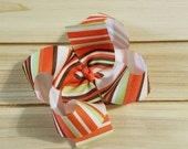 STORE CLOSING, Fall Stripe Boutique Bow, Thanksgiving