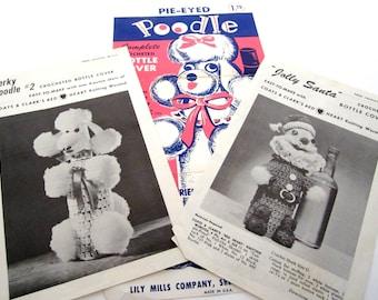 CROCHET BOTTLE COVERS Pie Eyed Poodle, Perky Poodle, Jolly Santa Patterns