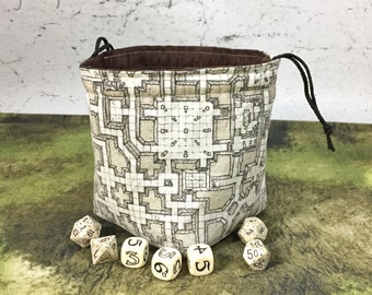 Sepia Dungeon Map Dice Bag