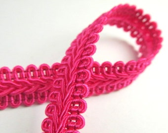 Hot Pink Fuchsia 1/2 inch or 13mm Romanesque Flat Gimp Trim sold by the yard