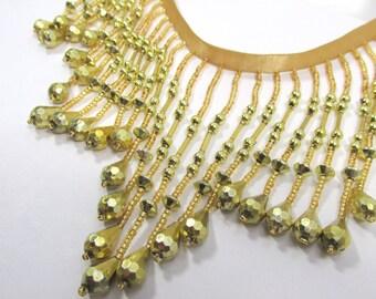 Metallic Gold 4 inch long Beaded Fringe Trim Decorator or Burlesque Trim
