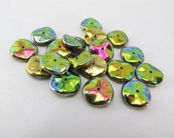 California Meadows Vitrail Medium Shiny Czech Glass 12mm Ripple Beads (14)