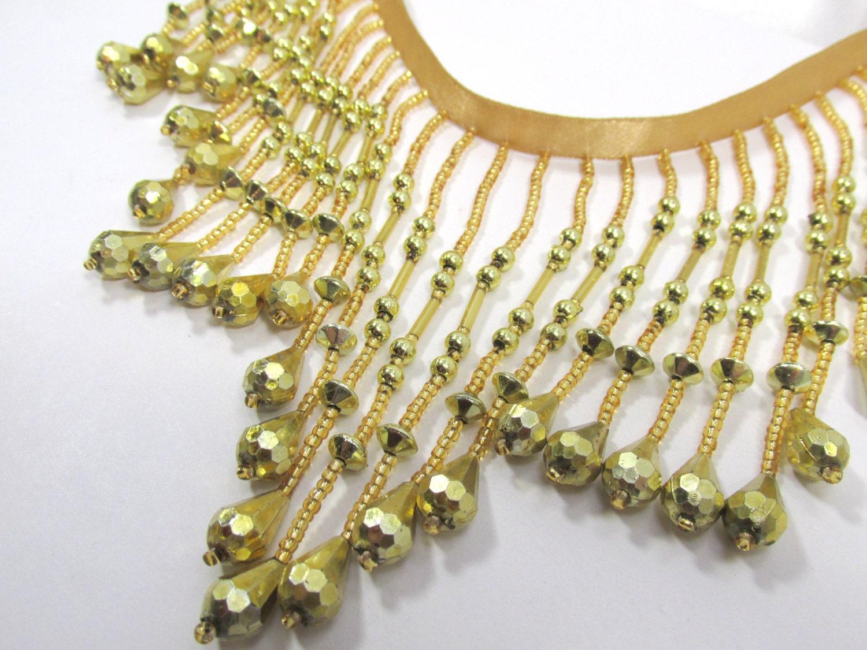 metallic gold 4 inch beaded fringe trim decorator or