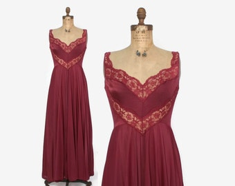 Vintage 70s OLGA NIGHTGOWN / 1970s Silky Burgundy Sheer Lace Full Sweep Negligee 9295