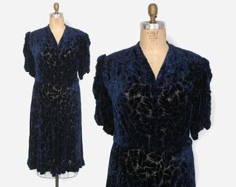 RESERVED // Vintage 30s Velvet Dress / 1930s Plus Size Burnout Silk Velvet Blue Leaf Pattern Dress XL - XXL