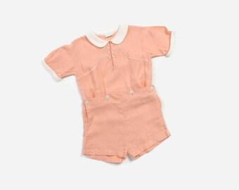 Vintage 40s Linen Romper / 1940s Peach Onesie Short Suit Kids 3T