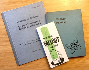 Vintage Nuclear Fallout Book Collection, All amAbout the Atom, Atomic Guides, Fallout Shelter Protection, Radiation Particles