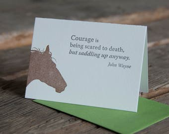 Inspiration card with John Wayne quote, letterpress printed, eco-friendly, horse silhouette