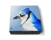 Blue Jay painting - monochrome bluejay art - realistic wildlife painting with modern metallics - backyard songbird - winter holiday art
