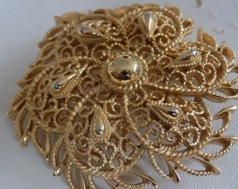 Vintage brooch, signed Trifari scrolled gold tone floral brooch, collectible retro jewelry