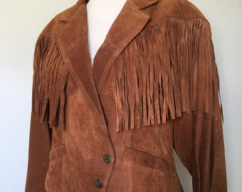 Vintage Wilson's suede fringe jacket, 80s fringed cropped, 1980s leather laced, brown tobacco tan rust cognac crop, boho western, L large 42