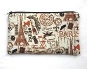 Paris Fabric Zipper Pouch / Pencil Case / Make Up Bag