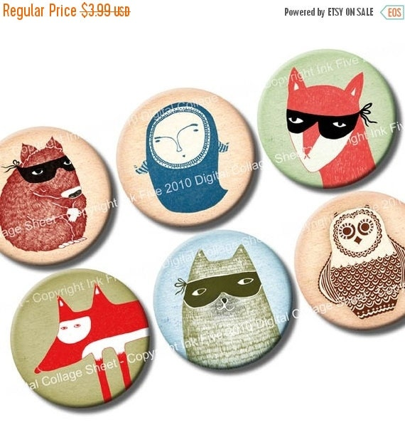 WINTER SALE 50% OFF 1 inch circles Neighbourhood Creatures - bottlecaps printable images - digital collage sheet for cupcake toppers, scrapb