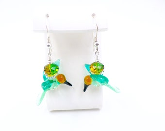 Hummingbird Earrings, Lampwork Earrings, Glass Bead Earrings, Green Dangle Earrings, Beaded Earrings, Lampwork Jewelry, Beadwork Earrings