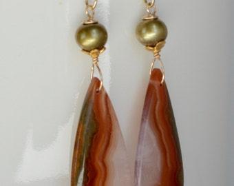 Red Agate Earrings, Red Stone Earrings,  Gemstone and Pearl Earrings, 14k Gold Filled Earrings, Warring States Agate, Natural Stone Earrings