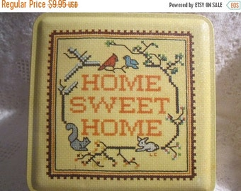 HOLIDAY 25% SALE Vintage HOME Sweet Home Tin Container Cross Stitch Embroidery Yellow Collectible