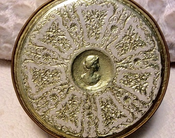 Vintage HEAVY Gold and Cream Embossed Tin Box by Guildcraft with Cameo Fruitcake Tin