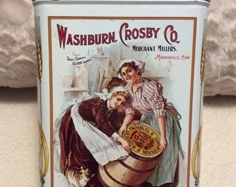 MOTHERS DAY SALE Large Gold Medal Flour Tin Container Washburn Crosby Co White Americana Advertising