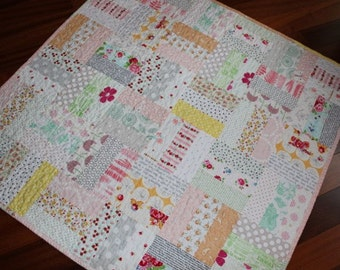 Low Volume Rail Fence Baby Girl Quilt
