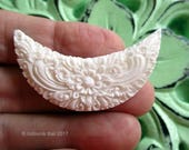 Reserved - Balinese Motif Crescent Carved Bone Drilled Cabochon 45mm
