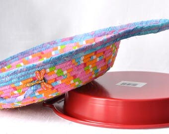 Pie Plate Basket and Plate Gift Set, Pie Cozy, Handmade Pie Carrier, Dessert Caddy, Modern Bread Basket, Party Decoration