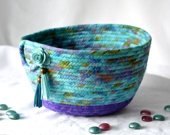 Turquoise Bread Basket, Handmade Napkin Holder, Hand Coiled Knitting Basket, Aqua and Purple Fabric Basket, Modern Chic Fabric Bowl