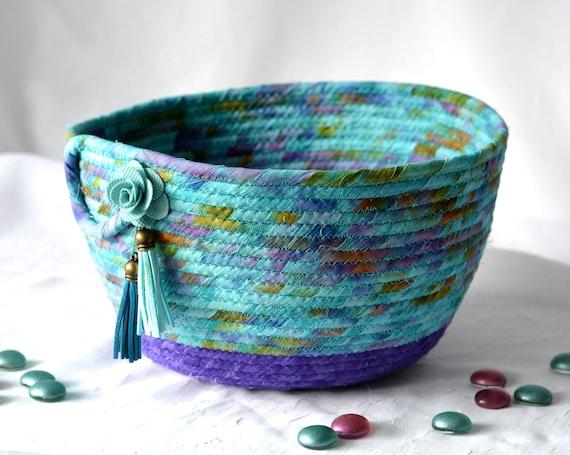 Turquoise Bread Basket, Handmade Napkin Holder, Hand Coiled Knitting Basket, Aqua and Purple Fabric Basket, Modern Chic Fabric Bowl