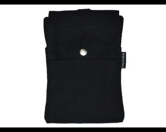 Black Waxed Canvas Zipper Cell Phone Holder, Wallet, iPhone Case, Samsung Case, Droid, Phone Case