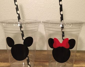Mickey & minnie inspired plastic cups 20 cups (16oz) ... Great for parties, birthdays, celebrations