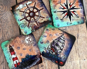 Coasters, Nautical Coasters, Beach Coasters, Lake House Coasters, Steampunk Coasters, Cork back Coasters, Housewarming Gift
