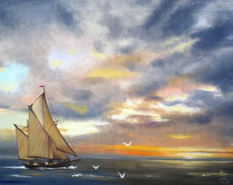 Sailboat sunset seascape 24x36 oils on canvas painting by artist RUSTY RUST / M-427