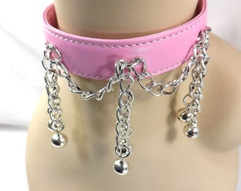 Locking collar bdsm collar pink collar mature slave collar with bells and chains ddlg kitten play collar