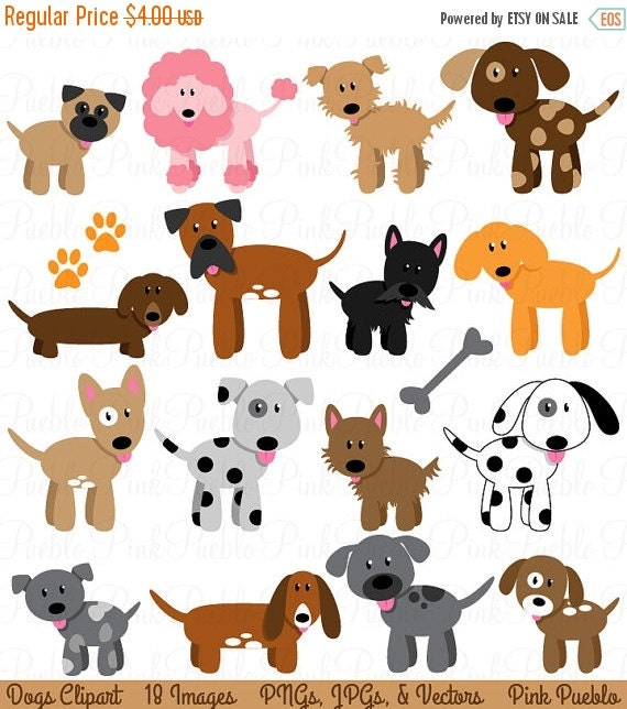 HALLOWEEN SALE Dog Clipart Clip Art, Puppy Clipart Clip Art Vectors - Commercial and Personal Use