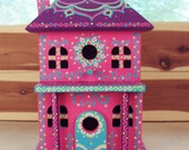 Two Story Decorative Birdhouse Handpainted with Floral Designs Doodles and Dots Home Decoration Porch Decor Pink Purple Light Blue