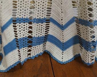 Vintage Blue and White Crochet Half Apron