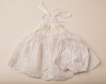 Sweet Lace Newborn Dress & Diaper cover- Newborn Photography Dress Set