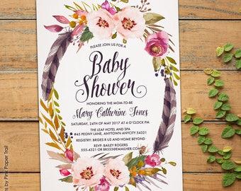 Boho Baby Shower Invitation, Boho Baby Invite, Rustic Boho Chic Bohemian Spring Summer Printable Invitation