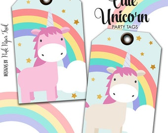 Cute Magical Unicorn and Rainbows Printable Party Tags Favor Tag Gift Tags Instant Download Print Your Own