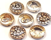 Seven 2 Hole Slider Beads Multi Design Round Hammered Look Petite Clear Crystal Hearts Antiqued Tri Color Mixed Metal Heart Bead Love Beads