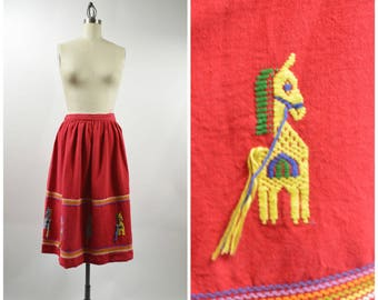 "Vintage Guatemalan Skirt Red Cotton with Embroidered Horses Size Medium 28"" to 30"" Waist Western Wear Boho Ethnic"