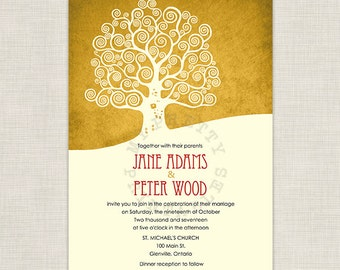Fall Tree - Wedding Invitation template gold I Vintage I Rustic