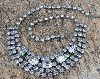 Vintage Crystal Rhinestones Necklace, Wedding and Bridal Wear, Black Tie Affair, Christmas Jewelry, Crystal Necklace, Choker Necklace.